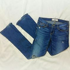Hollister Jeans This will be your absolute favorite pair of jeans  Sexy destroyed detailing  Medium wash Boot Cut Comfortable and flattering fit  In excellent condition, worn twice Hollister Brand  Size 5 regular   *Fast Shipping! Hollister Jeans Boot Cut