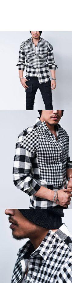 Contrast Flannel Checkerd Tuxedo Collar-Shirt 148 - GUYLOOK