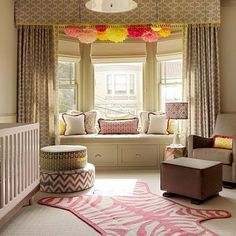 like the pom poms and window seat. I like the window seat. Put closets in diagonally in Gab's room flanking window seat Nursery Room, Girl Nursery, Nursery Decor, Nursery Ideas, Room Ideas, Chic Nursery, Kids Bedroom, Jungle Nursery, Project Nursery