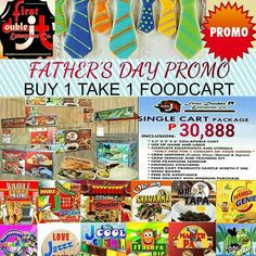 PROMO! PROMO! PROMO!  BUY 1 TAKE 1 OF FOODCART FIRST 20 CLIENT! Starting for the Month of June for the Celebration of FATHER'S DAY..Avail any of our FRANCHISE PACKAGE. SINGLE CART: 30,888 2 IN 1 DUAL CART: 40,888 3 IN 1 TRIPLE CART: 50,888  OUR CONCEPT: MASTER PAO BUKO NINJA MR.TAPA TEMPLE NOODLES HAMBURGENIE  NEW CONCEPT: JTATERS DIP SAKTOPPINGS SCRAMBLE DOUBLE J PIZZA JCOOL GULAMAN LOVE JAZZ SISIG  NO ROYALTY FEE NO QUOTA NO HIDDEN CHARGES ONE TIME PAYMENT ONLY!  INCLUSION: COLLAPSIBLE…