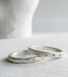 14K white gold modern engagement ring palladium by lolide on Etsy