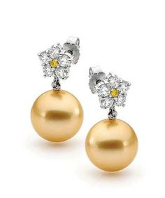 Linneys South Sea Gold Pearl Earrings