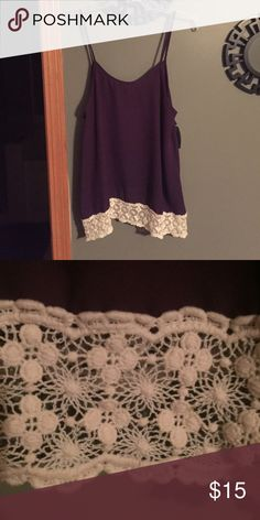 Purple tank with lace detail Purple tank. Lace/crocheted bottom. Tighter in bust. Tapered on each side. Annabella Tops Tank Tops