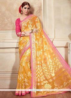 Heavenly Silk Yellow Printed Saree Model: YOSAR8070