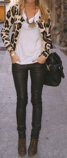 white tee + leopard + necklace + skinny