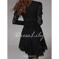 Stylish Scoop Collar Long Sleeve Solid Color Lace Women's Dress