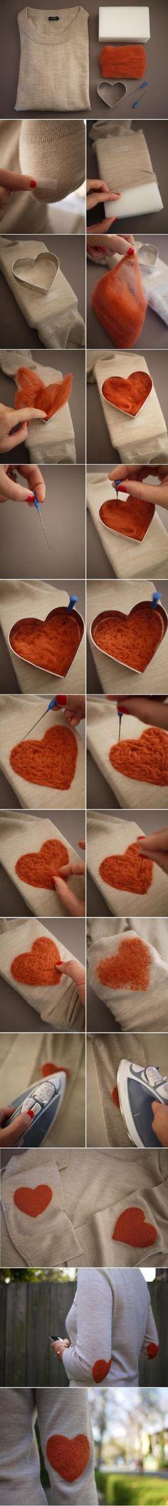 DIY Heart elbow long sleeve shirt