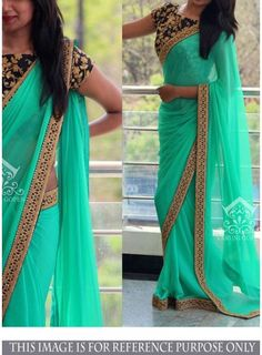 Bring in a wisp of grace and freshness to your dressing style with this sea green georgette fancy saree. This fancy saree made with embroidered and patch border. It's best for party, wedding and cerem...