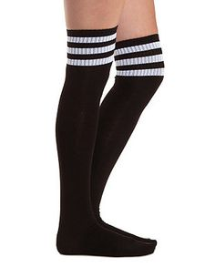Sporty-Striped Over-the-Knee Socks: Charlotte Russe