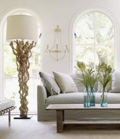 Elegant Living Room with Driftwood Floor Lamp - Discover home design ideas, furniture, browse photos and plan projects at HG Design Ideas - connecting homeowners with the latest trends in home design & remodeling Driftwood Flooring, Driftwood Furniture, Driftwood Lamp, Home Interior, Interior Design, Driven By Decor, Wood Floor Lamp, South Shore Decorating, Living Spaces