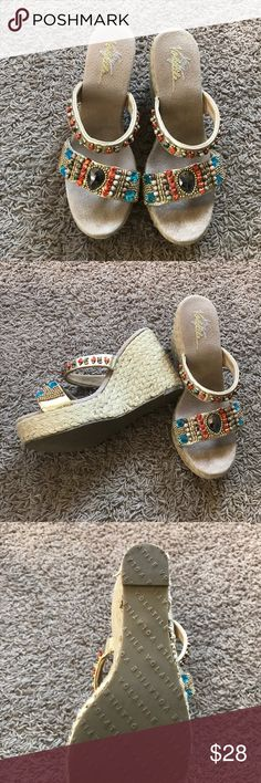 Wedge heel sandals Volatile beautifully studded wedge sandals are just what that new outfit is calling for. These were worn three or four times. There's one string that is just starting to unravel... quick fix ladies! Volatile Shoes Platforms