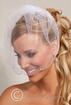 A soft birdcage veil made of illusion with a scalloped edgeadorned with bugle beads and crystal beads.The illusion is 9 inches long.