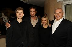 Gerard Butler with Israeli Prime Minister Benjamin Netanyahu & his family. They met at a post-Passover celebration at the home of producer Leon Edri in Caeserea. Easter weekend 2013