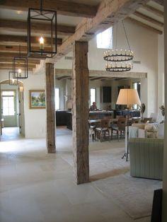 Beams, lighting, open floor plan