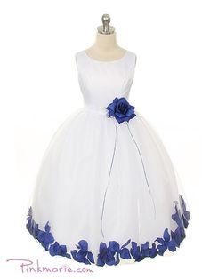 White or Ivory with Royal Blue Satin Bodice Skirt Flower Girl Dress