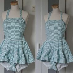 1950s Vintage Swimsuit / Playsuit Baby Blue and White Gingham ...