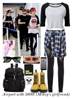 Airport with 5SOS by mati1d on Polyvore featuring polyvore fashion style OPTIONS Dr. Martens Calvin Klein Hayden-Harnett Ray-Ban Maison Mihara Yasuhiro nette' Leather Goods clothing