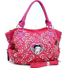 c0a0cb2dd0a7 Betty Boop® Shoulder Bag with Rhinestone Florets - Fuchsia