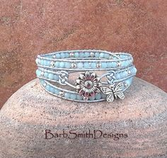 Light Blue Silver Beaded Leather 3-Wrap by BarbSmithDesigns