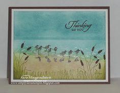 "By Sara Hoogendoorn. Uses Stampin' Up ""Wetlands"" stamp set."