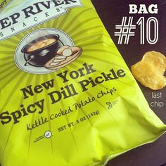 10 days of chips   DAY TEN: Last bag & last Deep River Kettle Chip. New York Spick Dill Pickle def tastes like a crunchy pickle in your mouth. This bag's charity: Leukemia Lymphoma Society. http://www.deepriversnacks.com/our-snacks/kettle-chips #chips #kettlechips