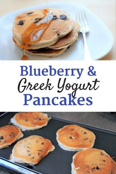 Looking for a healthy pancake recipe?  These blueberry Greek yogurt pancakes are a more nutritious option than most versions!  They pack in 11 grams of protein per serving and are super simple to make.   protein pancakes   Greek yogurt recipes   #recipe #food #breakfast #pancakes #protein #blueberries