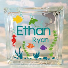 Personalized Boy Glass Block Piggy Bank, Under the Sea Piggy Bank, Boy Birthday,  Custom Piggy Bank, Custom Glass Block, Piggy Bank, by BubbieRed on Etsy