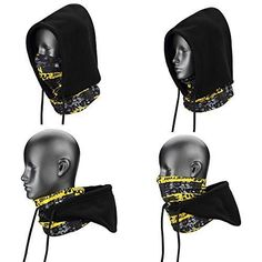 Weanas 4 in 1 Face Cover Hood Mask Balaclava Hat, Hood Veil Thermal Warm Wind Proof Neck Warmers Face Mask and Fleece Hat Head Bandana, Airsoft Helmet, Cycling Accessories, Balaclava, Clothes Crafts, Head And Neck, Fashion Face Mask, Bike Trainer, Neck Warmer