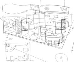 In this video you will see how we can start a sketch of an exhibit design, starting with a quick floor plan to help us visualize the main . Architecture Model Making, Architecture Concept Drawings, Exhibition Plan, Exhibition Stand Design, Interior Design Renderings, Interior Sketch, Floor Plan Sketch, Design Case, Display Design