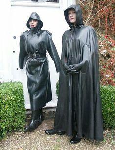 Two Elm Hill nurses leave their dorm on the way to the hospital. Black Raincoat, Pvc Raincoat, Heavy Rubber, Black Rubber, Latex Lady, Rubber Raincoats, Gothic Corset, Gothic Dress, Rain Gear
