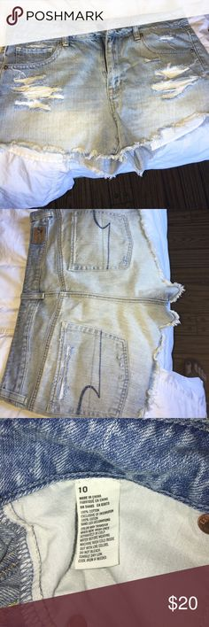 American Eagle High Rise Festival Shorts Size 10. High rise festival shorts. Has holes in the front, and in back pockets. The pockets do show when you're wearing them. Light denim wash. American Eagle Outfitters Shorts Jean Shorts