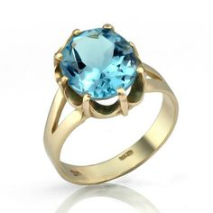 Sparkling Blue Topaz 14k Gold Cocktail Ring