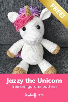 Jazzy the Unicorn Free Amigurumi Pattern Crochet Gifts, Crochet Unicorn Pattern Free, Free Crochet Doll Patterns, Doll Amigurumi Free Pattern, Crochet Dolls, Crochet Stitches, Animal Knitting Patterns, Crochet Ideas, Crochet Pony
