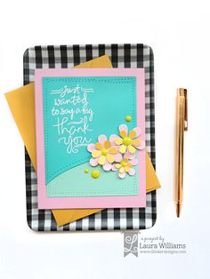 Make a simple handmade thank you card with Lil' Inker Designs Hand Drawn Thankfulness stamps and Perky Posies die set Handmade Thank You Cards, Think Happy Thoughts, Shaker Cards, Little Flowers, Card Making Inspiration, Crafty Projects, Wow Products, Cardmaking, How To Draw Hands