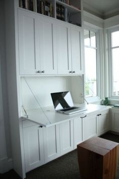Love this flap down desk. Other great ideas for desks on this post.