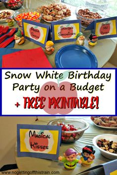 What a cute idea for a Snow White birthday party! Budget friendly food and decoration ideas plus a free printable! www.nogettingoffthistrain.com