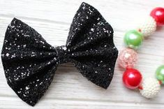 Black Coal in your Stocking Chunky Glitter Bow