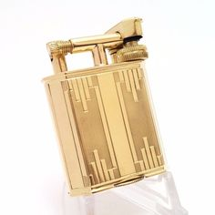 VERY RARE 18K solid gold French petrol lift-arm lighter, engine turned art-deco | eBay