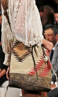 Love the bag - it looks like it's made out of an old Native American prayer blanket