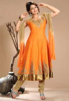 Orange Chanderi Silk Readymade Churidar Kameez @ $81.01
