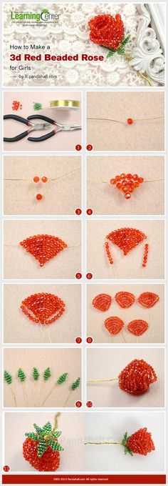How to Make a 3d Red Beaded Rose for Girls