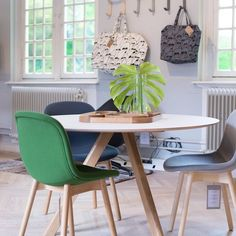 The CPH20 table with the Neu Chair in HAY Naarden in The Netherlands Milou Curvers