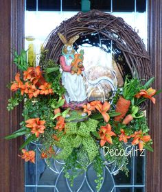 MRS. BUNNY in a CARROT Patch Easter Wreath by decoglitz on Etsy