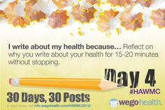#HAWMC Day 4: I write about my health because… Reflect on why you write about your health for 15-20 minutes without stopping.   Tweet it: @wegohealth  Share on Facebook: https://www.facebook.com/wegohealth Sign up: http://info.wegohealth.com/HAWMC2012/