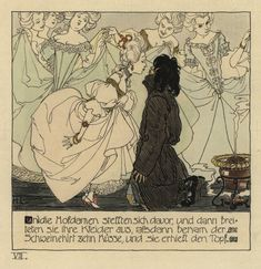 Heinrich Lefler, Die Prinzessin und der Schweinehirt (tr: The Princess and the Swineherd), 1897. The catalogue says these illustrations 'mark the beginning of modern book art in Vienna' Kling Klang Gloria: Vintage Children's Books from Austria - 50 Watts