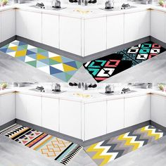 Panlonghome Nordic Modern Minimalist Kitchen Rug Geometric Mat Nonslip Oilresistant Strip Mat Home Bedroom Bedside Carpet Minimalist Kitchen, Modern Minimalist, Home Bedroom, Bedrooms, Luxury Kitchen Design, Kitchen Rug, Geometric Rug, Construction Materials, Rugs On Carpet