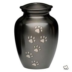 Classic Paw Print Inlaid Pet Cremation Urn For Ashes in Medium Size Pet Cremation Urns, Keepsake Urns, Pet Ashes, Pet Urns, Solid Brass, Hand Carved, Slate, Pewter, Carving