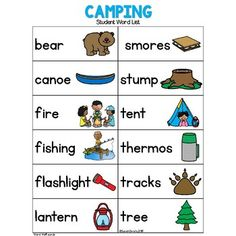 Best Camping In Georgia Camping Activities, Camping Crafts, Educational Activities, Preschool Activities, Interactive Learning, Kids Learning, September Preschool Themes, Preschool Word Walls, Block Center Preschool