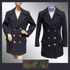 Vintage Gloverall Naval Reefer Coat // 1960s Navy Blue Pea Jacket Brass Buttons Unisex Mens Ladies Medium at rubylane.com