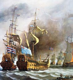 Four Days Battle between the British and the Dutch fleet Ship Paintings, Seascape Paintings, Anglo Dutch Wars, Bateau Pirate, Master And Commander, Naval History, Military History, Navy Paint, Old Sailing Ships